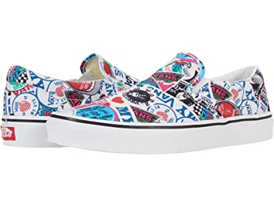Vans Classic Slip-On ((Vans Mash Up) Stickers/True White) Skate Shoes