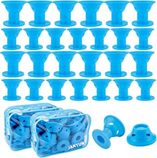 JANYUN 40 Pcs Blue Magic Silicone Hair Curlers Rollers with 2 Pcs Bag