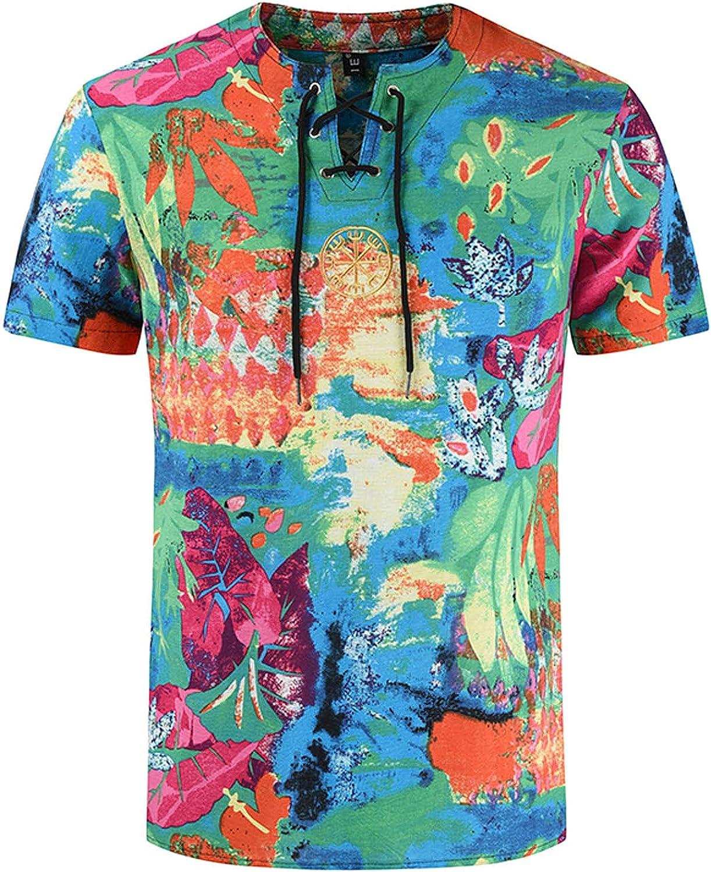 Linen Shirts for Men Henley Shirts Hippie Summer Slim Casual Vintage Printed Short Sleeve T-Shirt Top Blouse