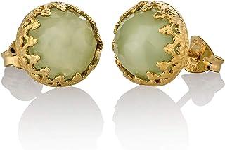 Orecchini in giada dorata Orecchini in oro verde chiaro 14k con giada riempita