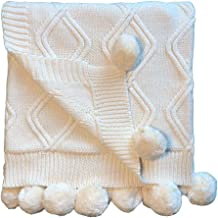 Linen Perch Luxury Cable Knit Pom Pom Baby Nursery Blanket Boy or Girl in Deluxe Gift Box - Unisex Cotton Knit Toddler Blanket – Baby Décor Blanket - 45 x 35 inches (Cream)