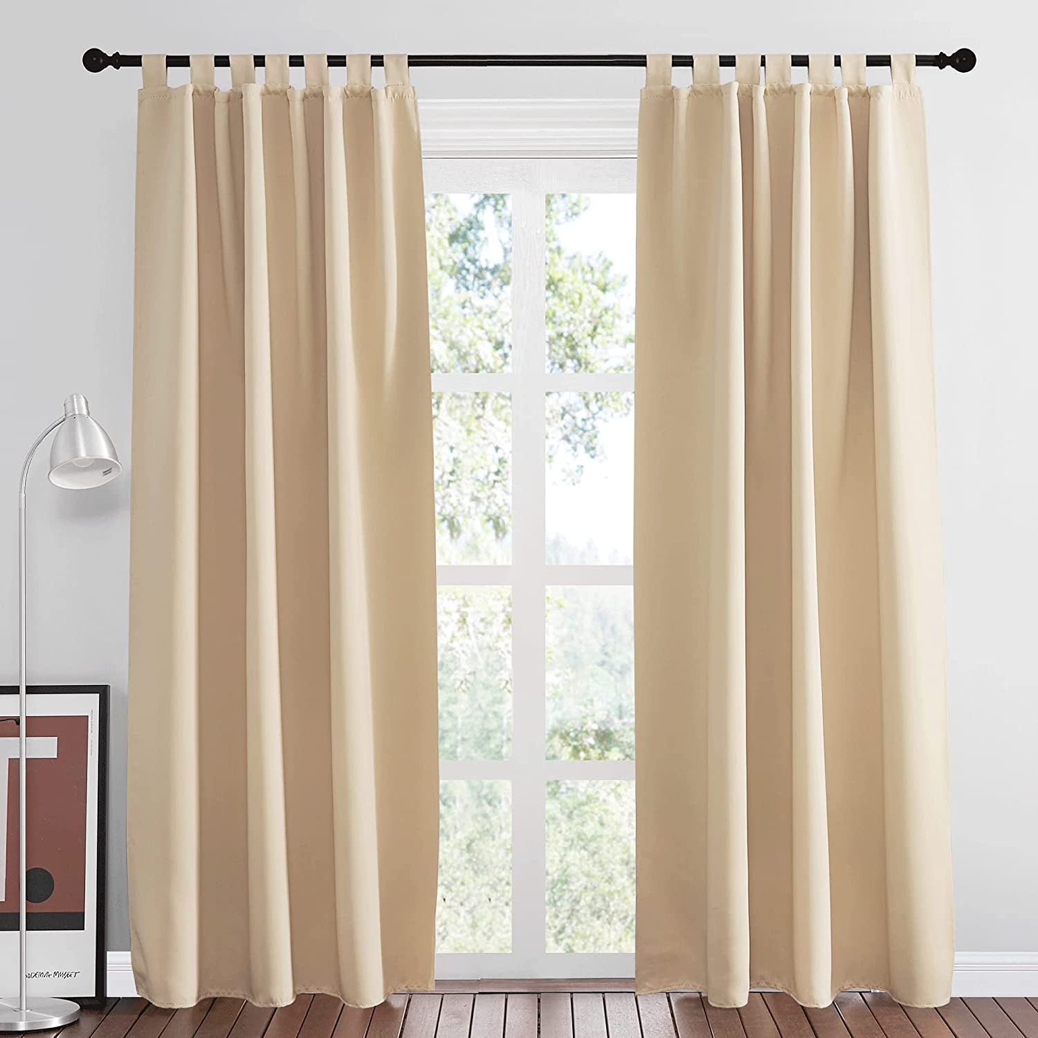 NICETOWN Bedroom Room Darkening Curtains - Home Fashion Thermal Insulated Solid Tab Top Room Darkening Window Curtains for Hall Room & Office (Biscotti Beige, 1 Pair, 52 inches Wide by 84 inches Long)