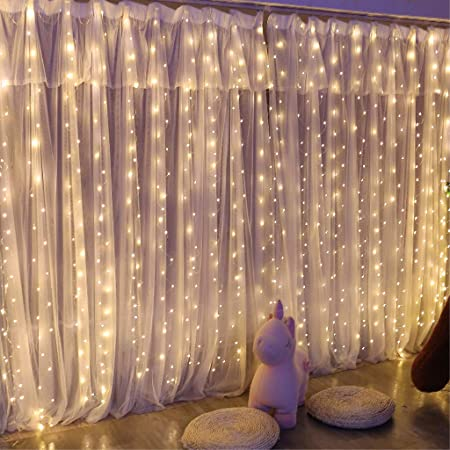 Upgrade 300 LED Curtain String Light, SINAMER 6.56ftx9.8ft Copper Wire Lights, USB Powered Hanging Window Fairy Lights,8 Lighting Modes, Remote Control for Home Christmas Wedding Party, Warm White