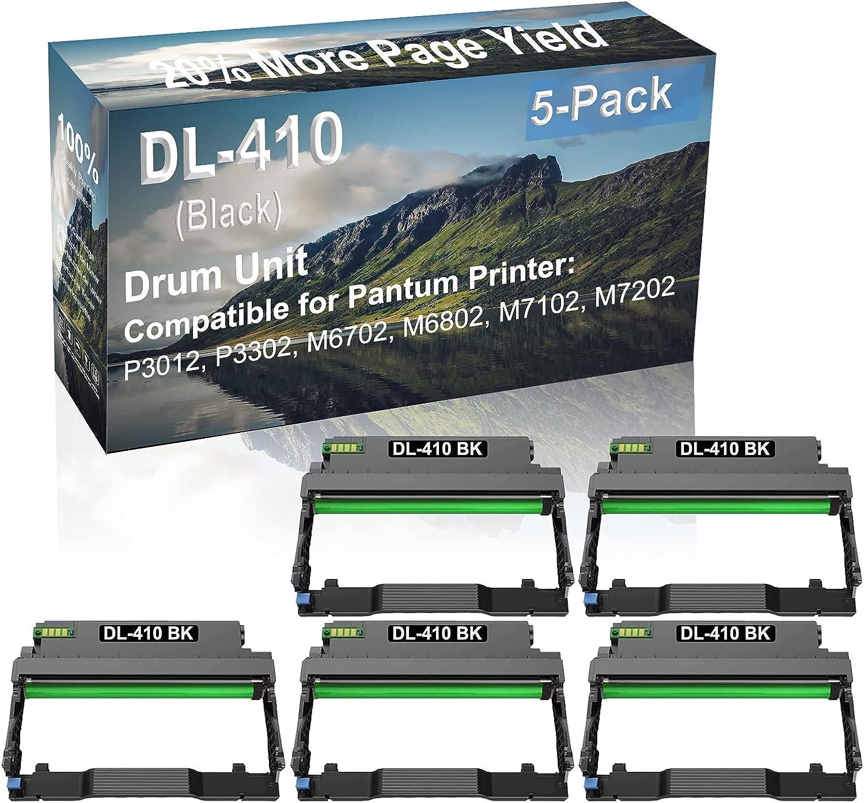 5-Pack (Black) Compatible M6702, M6802 Printer Drum Unit Replacement for Pantum DL-410 Drum Kit