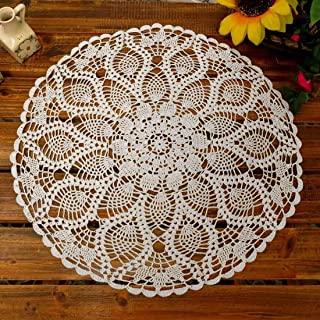 Phantomon Lace Doilies Table Placemats Crochet Doilies Cloth Round Coasters Cotton Doily For Tables, Sofa Cover, Waterlily Pattern, Round Shape, 20Inch (White)