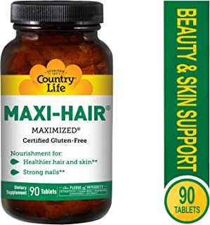 Country Life Maxi-Hair - 90 Tablets - Healthier Hair & Skin - Strong Nails - Vegetarian - B Vitamins - MSM - Biotin