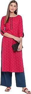 Janasya Indian Women's Pink Cotton Kurta