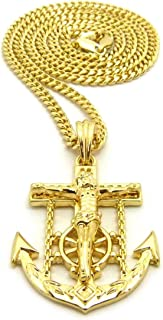 Mens Jesus Anchor Cross Hip Hip Jewelry Pendant 24