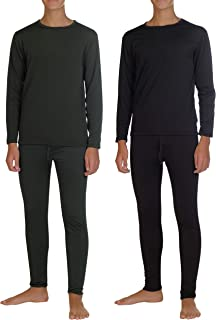 Sponsored Ad - 2 Pack: Boys Thermal Underwear Set Fleece Lined Long Johns Kids Top & Bottom Knit Base Layer Winter Sets