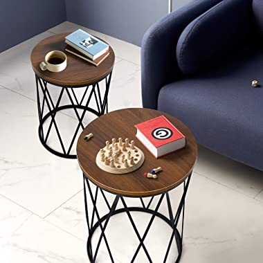 Modern Nesting End Table Set of 2 Living Room Decor Small Coffee Tables Round Side Table with Wood Tabletop and Metal Basket