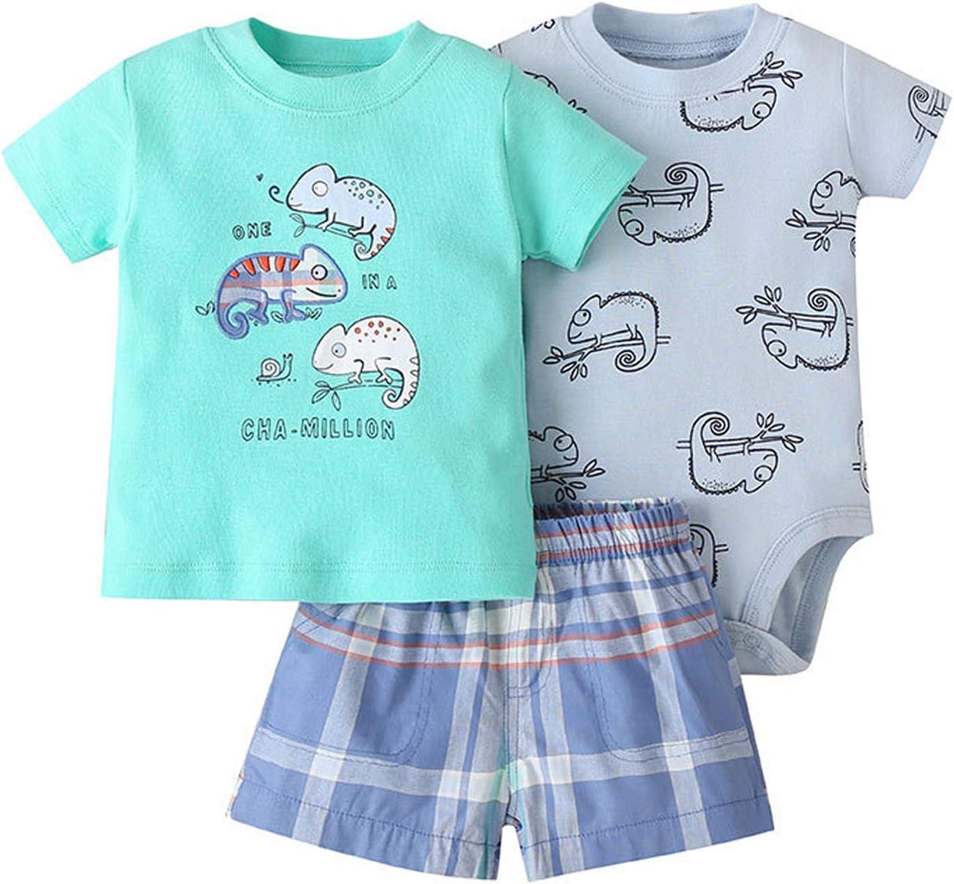Bebé Ropa Mamelucos + Camiseta + Pantalón 3Pcs Trajes, Peleles Manga Corta Algodón Monos Recién Nacido Regalo Verano Niños Niñas 6-9 meses
