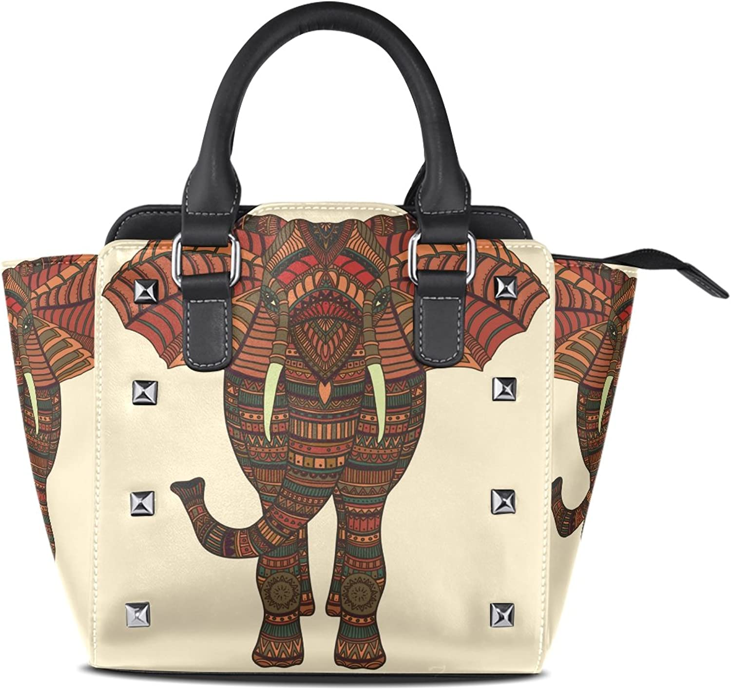 Sunlome Hand Drawn Tribal Elephant Print Handbags Women's PU Leather Top-Handle Shoulder Bags