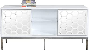 Meridian Furniture Zoey Collection Modern | Contemporary Mirrored Sideboard Buffet, Rich Chrome Stainless Steel Base, White L