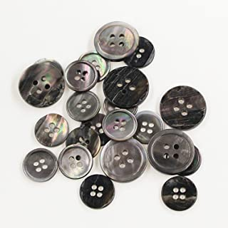 22 Pieces Genuine Black Mother of Pearl Blazer Buttons Suit Buttons Set 20mm 15mm Natural Black MOP Shell Buttons Bulk for Men (Black MOP) Leekayer
