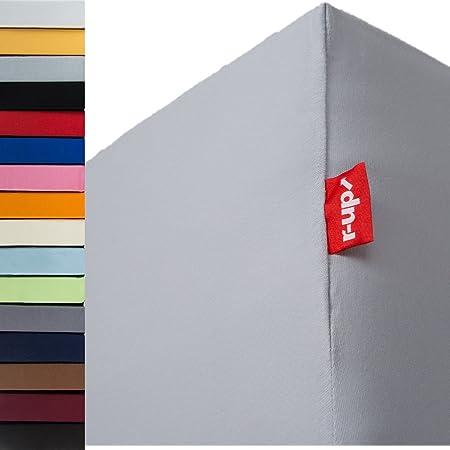 R-Up passt Drap Housse 90x 200–100x 200cm à 35cm de hauteur–plusieurs couleurs 100% coton 130g/m² certifié Öko-Tex stressfrei, Coton, gris argenté, 90x200-100x200