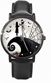 OneBee Personalized Graphic Photo Image Custom Watch Casual Black Leather Strap Wrist Unisex Watches for Men Women,TIME Scale Bulge Handmade Watch The night before Christmas OBA-033