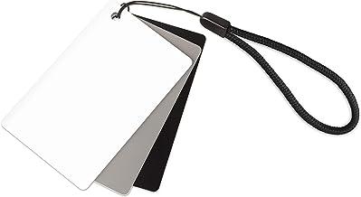 Ares Foto® Tarjeta gris para balance de blancos manual y medición de exposición. Con tarjeta de referencia en blanco y negro. En formato de tarjeta de crédito: 5.5 cm x 8.5 cm. Con práctico cable de transporte