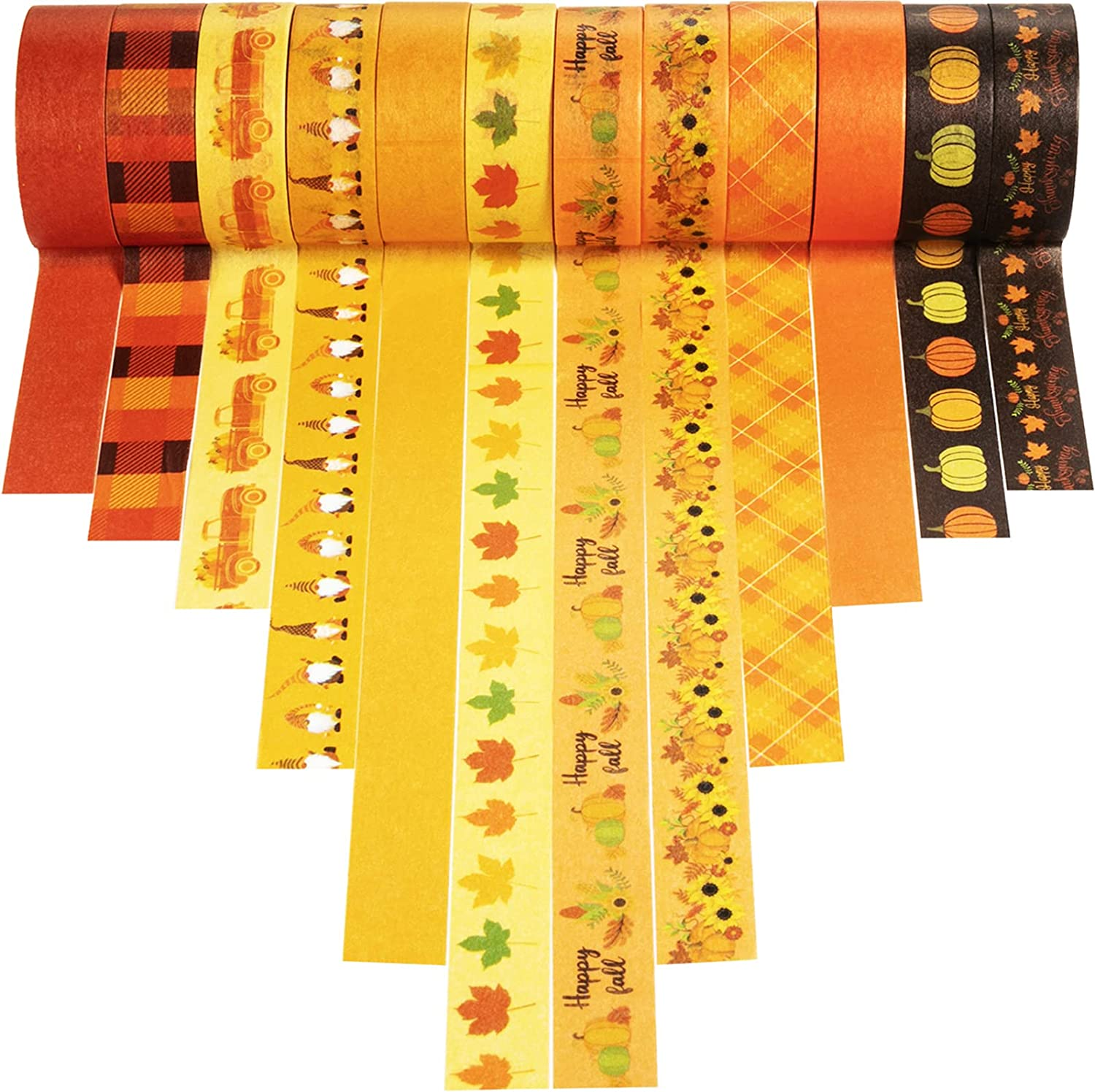12 Rolls Thanksgiving Fall Washi Tape Orange Plaid Masking Tape Maple Leaves Decorative Tape Autumn Pumpkin Book Tape Sunflower Tape Stickers for Thanksgiving Party Supplies Scrapbook DIY Wrapping