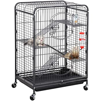 YAHEETECH 37/52-inch Metal Ferret Chinchilla Cage Indoor Outdoor Small Animals Hutch with 2 Front Doors/3 Front Doors/Feeder/Wheels for Squirrel
