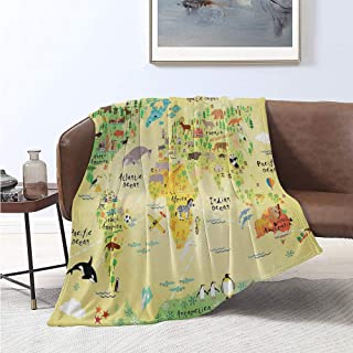Luoiaax Africa Comfortable Large Blanket Educational World Map Africa America Penguins Atlantic Pacific Animals Australia Microfiber Blanket Bed Sofa or Travel W70 x L84 Inch Multicolor