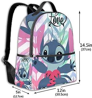 Classic School Backpack Love Stitch Unisex College Schoolbag Travel Bookbag Black