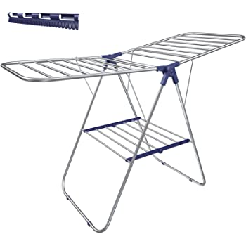 SONGMICS Clothes Drying Rack, with Bonus Sock Clips, Stainless Steel Gullwing Space-Saving Laundry Rack, Foldable for Easy Storage, Silver
