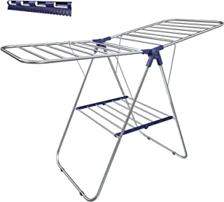 SONGMICS Clothes Drying Rack, with Bonus Sock Clips, Stainless Steel Gullwing Space-Saving Laundry Rack, Foldable for Easy Storage, Silver ULLR52BU
