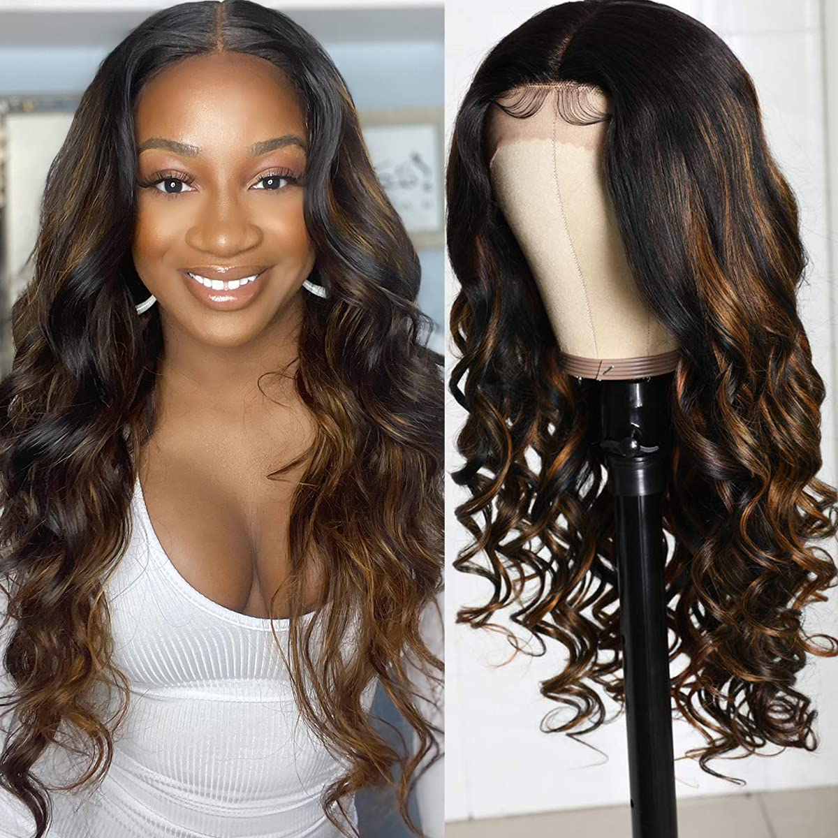 Julia Highlight In stock Lace Front Wigs Body New popularity Wig for Bla Wave Hair Human