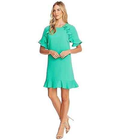 CeCe Short Sleeve Ruffled Moss Crepe Shift Dress (Jasmine Green) Women