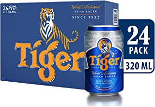 Tiger Lager Beer Can Carton, 320ml (Pack of 24)