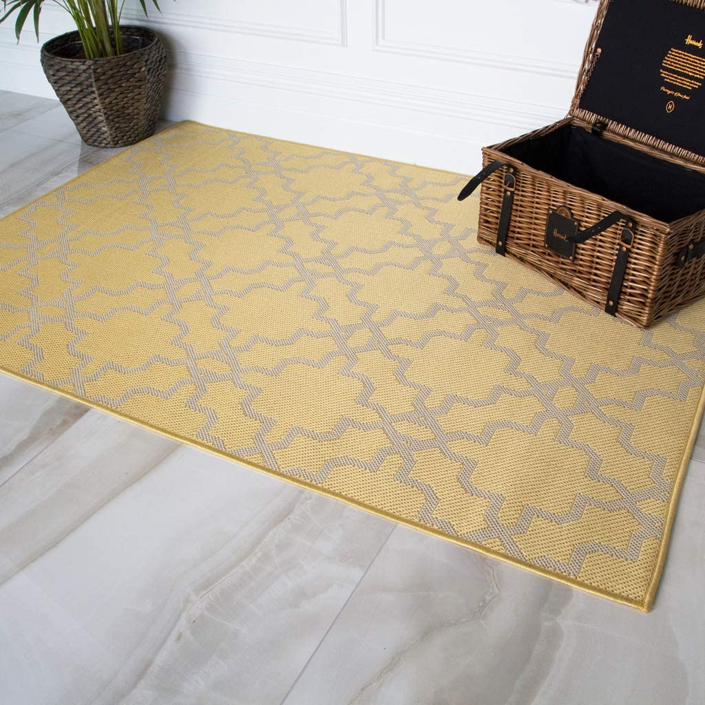 Habitat Trellis Limited price sale Design Flatweave Yellow Washable 70% OFF Outlet Ochre I Durable