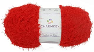 Charmkey Smooth Fur Yarn Super Soft Feeling 5 Bulky Fluffy Solid Colors Knitting Polyester Blended Fuzzy Nylon Luxe Yarn for Sweater Shawl Scarf Animal Toys, 1 Skein, 3.35 Ounce (Santa Red)