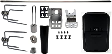 "OneGrill Universal Complete Grill Rotisserie Kit - 37"" x 5/16"" w/Black Cordless Motor (Matte Black Motor)"