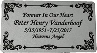 """Personalized Engraved Plate, 4.5"""" x 2.5"""" Silver Name Plate with Black, Plaque, Custom Engraving"""