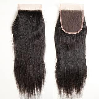 ZSF Hair Peruvian Straight Hair Top Closure Unprocessed Human Hair Lace Closure Bleached Knots (Free Part,12inch)