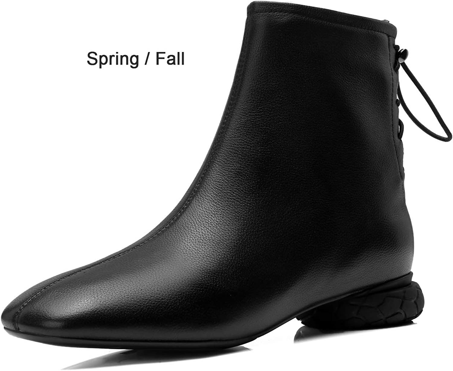 Women's Ankle Boots with Strange Flat Heel shoes Literary Ladies Booties for Fall & Winter