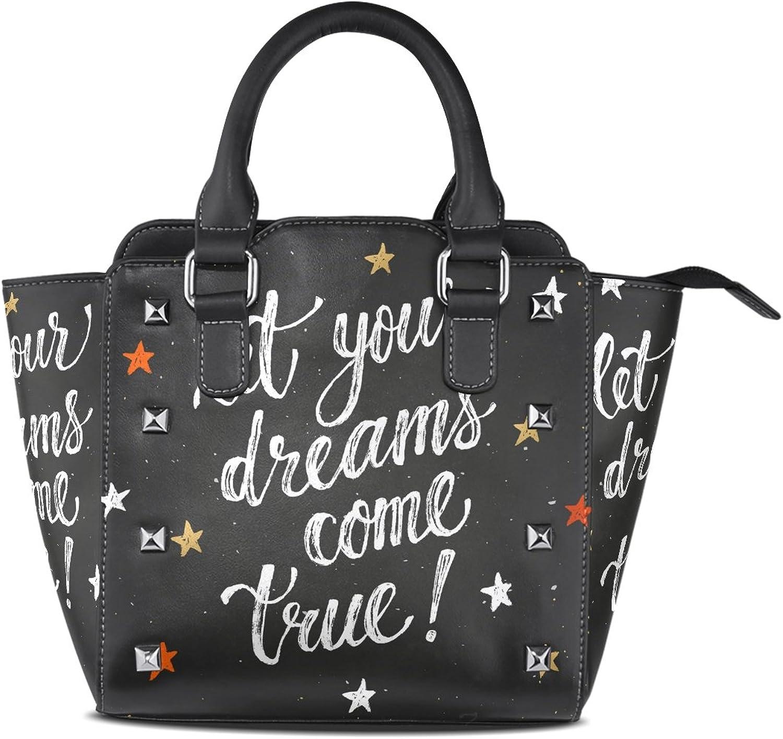 My Little Nest Women's Top Handle Satchel Handbag Let Your Dreams Come True Stras Ladies PU Leather Shoulder Bag Crossbody Bag