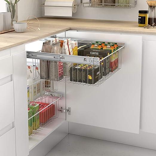 Cesto extraíble de rejilla metálica para mueble de cocina - Ancho 562-568 mm