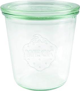 Weck Bocal en verre avec couvercle en verre résistant à la chaleur, au micro-ondes, au four, en verre rond., transparent, ...