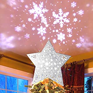 MAOYUE Christmas Tree Topper Lighted Star Tree Topper Silver Christmas Tree Star with Snowflake Projector Lights for Christmas Tree Decorations