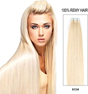Tape in Hair Extensions Human Hair 20 inch 50g/pack 20pcs Seamless Skin Weft Remy Straight Hair (#613) Blonde …