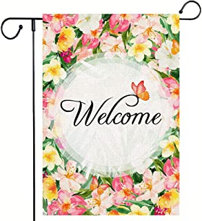 Monena Welcome Garden Flag, Flower & Butterfly Double Sided Vertical Burlap Yard Flag, 12.5 x 18 Inch Outdoor Decor Flags ...