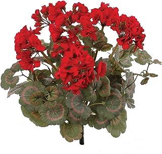 Red Artificial Geranium Flower Bush | UV Resistant Decorative Silk Artificial Plant Perfect for Outdoors or Indoor Décor, ...