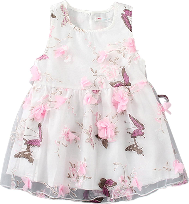 LittleSpring Little Girls Floral Dress Chiffon Sleeveless Summer Casual