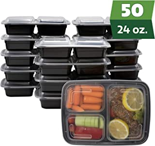 [50 Sets - 24 oz.] Meal Prep Containers With Lids, 3 Compartment Lunch Containers, Bento Boxes, Food Storage Containers