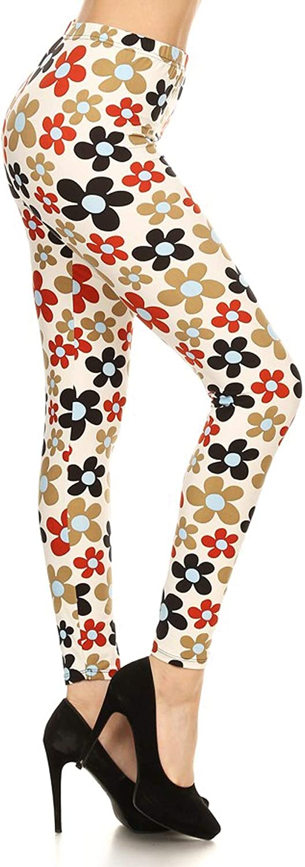 Leggings Depot Women's Ultra Soft Printed Fashion Leggings Pants BAT13