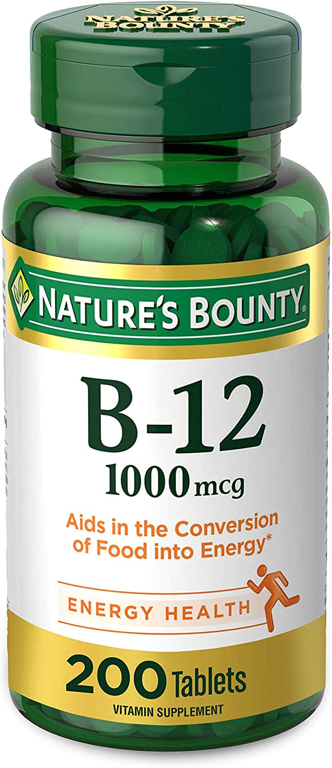 Amazon.com: Vitamin B12 by Nature's Bounty, Vitamin Supplement, Supports Energy Metabolism and Nervous System Health, 1000mcg, 200 Tablets : Everything Else
