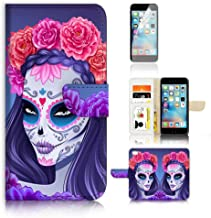 ( For iPhone 6 Plus 5.5' / iPhone 6S Plus 5.5') Flip Wallet Case Cover and Screen Protector Bundle A20256 Sugar Skull