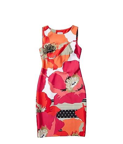 Calvin Klein Floral Print Sheath Dress (Hibiscus Multi) Women