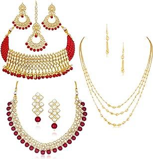 Sukkhi Sensational Pearl Gold Plated Kundan Set of 3 Necklace Set Combo Jewellery for Women